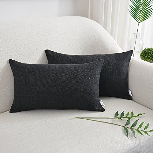 """NATUS WEAVER 2 Pieces Decorative Blended Linen Throw Pillow Cover Lumbar Rectangular Cushion Covers for Chair Couch Bench, 12"""" x 20"""" inch, Black"""