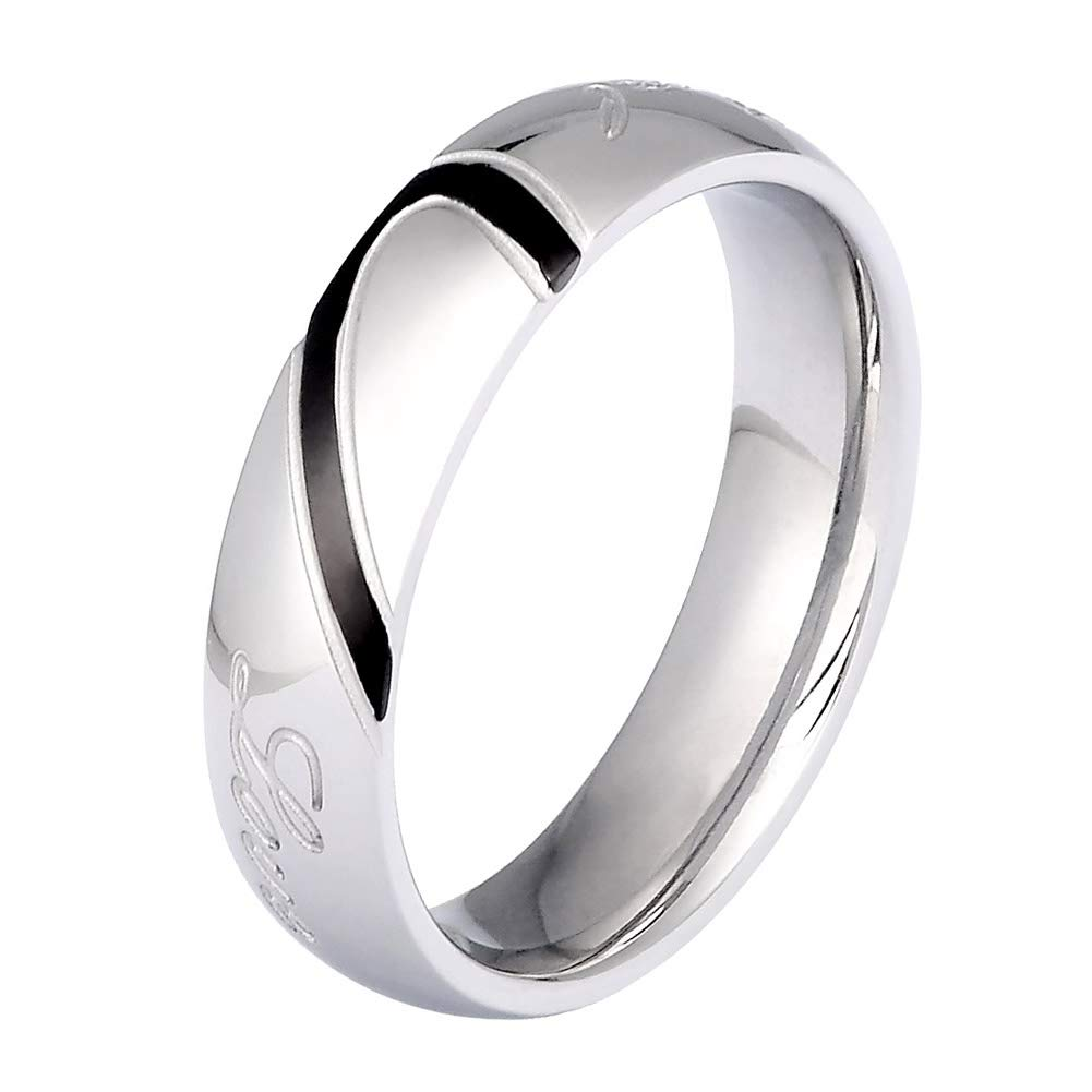 fda78d5c8c Amazon.com: Mens Womens Heart Titanium Steel Promise Ring Real Love Couples  Wedding Band Rings for Him and Her: Jewelry