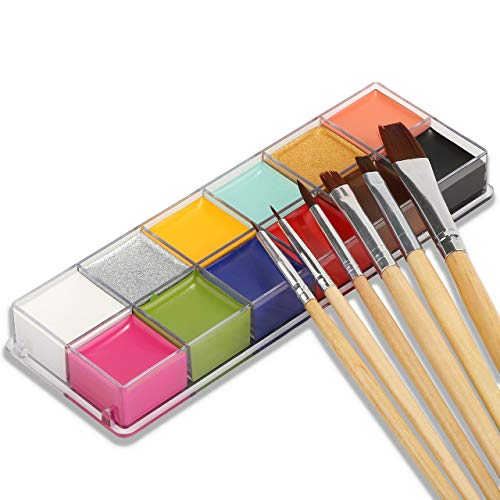 New Arrival Professional Face Body Paint Oil 12Colors Painting Art Party Fancy Make Up (12 Color + Brushes)