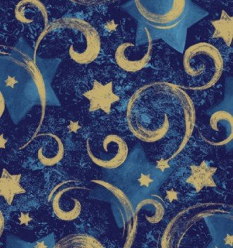 Stars Gift Wrap - Gold Star Blue Swirl Gift Wrap Roll 24
