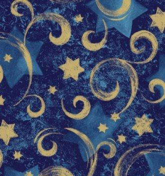 "Gold Star Blue Swirl Gift Wrap Roll 24"" X 16"