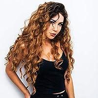 Pelucas onduladas rizadas, peluca de mujer cosplay a prueba de calor de pelo largo y rizado sintético marrón del festival de halloween peluca ajustable con una red a prueba de polvo
