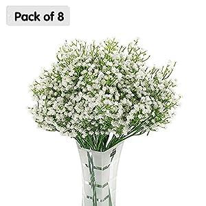 Zhi Jin Artificial Baby Breath Flowers Fake Wedding Bouquets Gypsophila Arrangements 1.6Feet Office Home Decoration Pack of 8 82