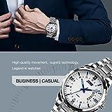 Mens Stainless Steel Quartz Dress Watch, Wrist Band Business Analog Watches Unique Waterproof Roman Numeral Casual Fashion Calendar Wristwatch - Silver Blue