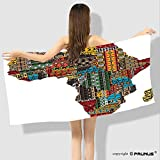 PRUNUS Microfiber Towels Africa Map with Countries Made of Architectural Feature Popular Ancient Continent Art Bath Towels for Beach, Pool, Bath, Sports and Workout-54 x27