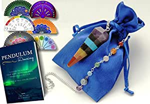 Crystal Pendulum with CHAKRA & LIFE CHARTS for DOWSING DIVINATION - Includes Download Link To 6 Full-Color Charts & Ebook