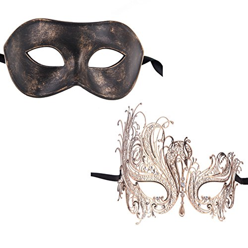 Xvevina Vintage Swan Women Metal Mask Men Masquerade Mask Venetian Couple Masks for (Masquerade Mask For His And Her)