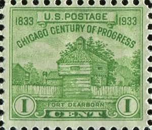 "1933 ""Century of Progress"" Commemorative-U.S. 1 Cent ""Fort Dearborn"" Stamp (#728)"