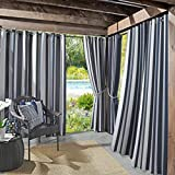 Sun Zero Valencia UV Protectant Indoor Outdoor Curtain Panel, 54' x 95', Navy Blue