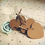 10pcs Heart Shaped Kraft Paper Gift Tags Wedding Scallop Label with strings