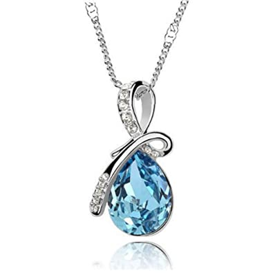 8fbc313ea Amazon.com: Ap Exit 9 Water drop Crystal Rhinestone fine Jewelry Gift  Accessories Collar Pendant Necklace For Women (Silver Ocean Blue): Jewelry