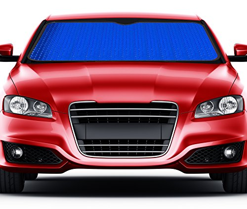 AutoSphere Front Car Sunshade Windshield Sun Shade Keeps Vehicle Cool UV Ray Protector Easy to Use (Blue Metallic)