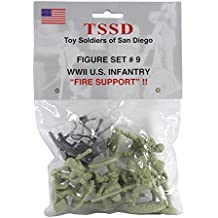 TSSD WW2 US Marines Fire Support: 8 Green 1:32 Plastic Army Men Figures