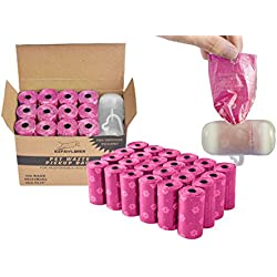 EXPAWLORER Pink Dog Poop Bags Degradable Leak-Proof Pet Waste Bag includes Dispenser 24 Rolls/480 Count