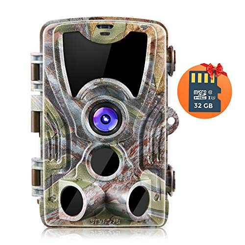 Crenova 20MP 1080P HD Trail Camera with 32GB Micro Card Included Max up to 64GB Updated to 940nm IR LEDs and IP66 Waterproof Game Camera,Motion Activated Night Vision