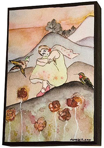 Girl with Hummingbird Wall Art on Wood Watercolor Painting Print Resting in Mountains Ready to Hang 6X9 Small