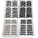 ReNext 40 Pairs of Black Long & Thick Reusable False Eyelashes Fake Eye Lash for Makeup Cosmetic, 4 Kinds of Style