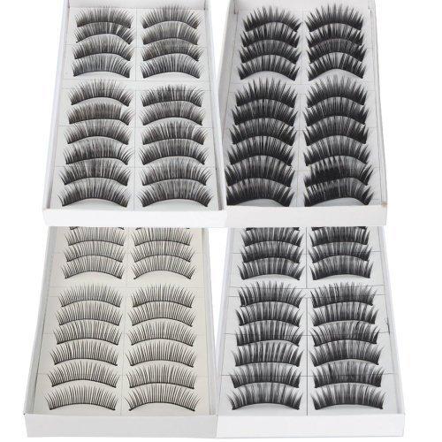 NEJLSD 40 Pairs of Black Long & Thick Reusable False Eyelashes Fake Eye Lash for Makeup Cosmetic, 4 Kinds of Style