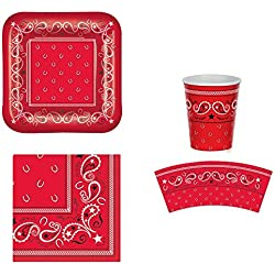 Western Bandana Party Bundle for 16: Plates, Napkins, and Cups