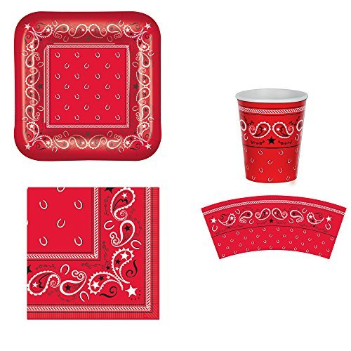 Western Party Supplies Serves 16 Guests Red Bandana Dinner/Luncheon Plates, Napkins and Cups