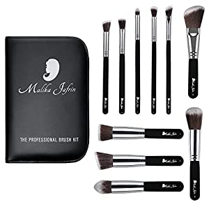 Designer Beauty Makeup Brush Set: Malika Jafrin 10 Piece Professional Kabuki Brushes For Face and Eye Blending, Contouring, Highlighting & Setting Powder - Angled, Round & Tapered Synthetic Bristles