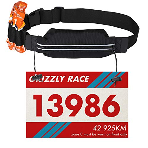 Running Race Number Bib Belt With Elastic Webbing - Fits All Size For Marathon, Triathlon and Cycling - Phone Friendly Pouch