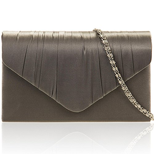 Zarla New Women Pleated Satin Envelope Clutch Bridal Party Prom Ladies Evening Bags UK Grey