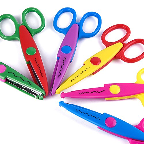Kuuqa 6 pcs kids safety scissors art craft scissors set for Arts and crafts sets for kids