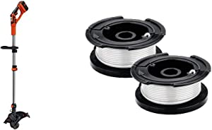 BLACK+DECKER 40V MAX String Trimmer/Edger with Trimmer Line Replacement Spool, Autofeed 30 ft, 0.065-Inch, 2-Pack (LST136 & AF100-2)