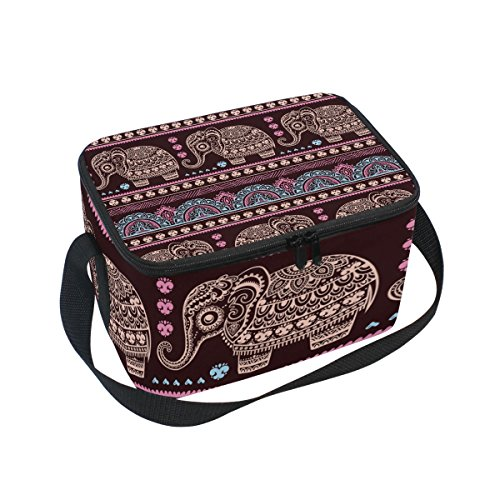 Hippie Indian Elephant Mandala Insulated Lunch Bag Box Cooler Bag Reusable Tote Bag Outdoor Travel Picnic Bags