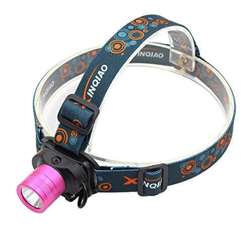 Headlamp Headlight for girls Pink - Genwiss Lightweight Head Lamp 2000 lumen Q5 LED Torch Light with Rechargeable Batteries, Car Charger, Wall Charger for Camping Biking Hunting Fishing Outdoor Sports