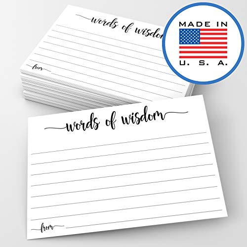 321Done Words of Wisdom Card (50 Cards) 4 x 6 - Blank Advice Cards for Wedding Bridal Shower Baby Shower Mr and Mrs Bride and Groom Graduation - Made in USA - White