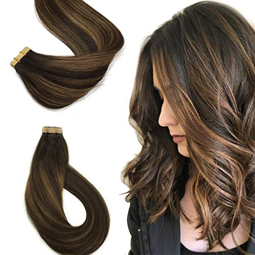 Tape in Remy Tape in Hair Extensions Ombre Balayage Color #2 Fading to #6 and #2 Light Dark Brown Mixed Light Brown 50g 20pcs/Set Tape Hair Extensions 22inch