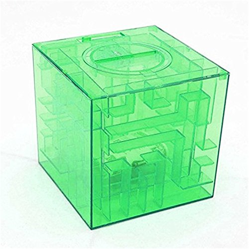 OWIKAR Money Maze Bank, Money Maze Puzzle Box Fun and Inexpensive Game Challenge 3D Magic Cube Maze Bank Brain Teaser Puzzles Toys for kids and Adults Gifts (Green)