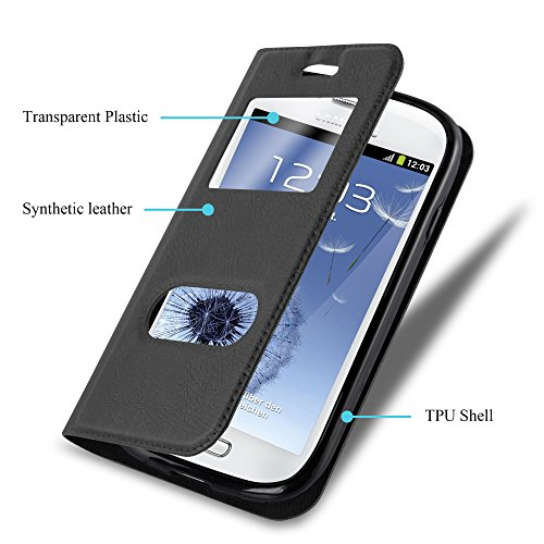 Cadorabo - Funda Book Style de Cuero Sintético en Diseño View para Samsung Galaxy S3 MINI con Imán Invisible, Función de Soporte y Doble Ventana