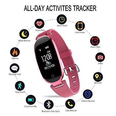 DG2CHU Fitness Tracker Heart Rate Monitor Women Activity Sleep Monitor Waterproof Pedometer Smart Bracelet (Rose red)