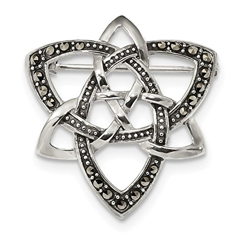 925 Silver Antiqued Celtic Knot - Jewel Tie 925 Sterling Silver Antiqued-Style Marcasite Celtic Knot Pin (30mm x 29mm)
