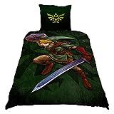 Zelda reversible bed linen link logo 2pcs 80x80cm 135x200cm Nintendo of Elbenwald cotton green