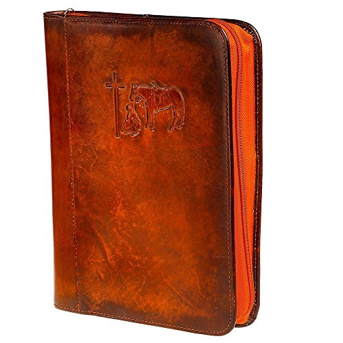 - M & F Western Unisex Cowboy Prayer Leather Bible Cover Brown One Size