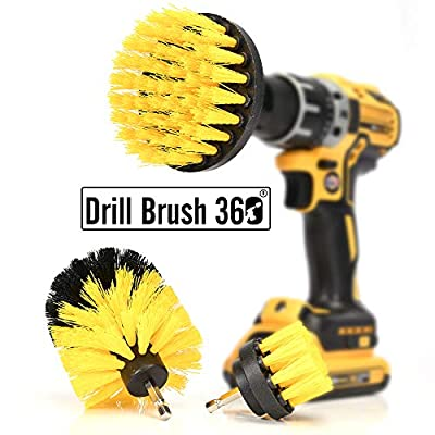 DRILL BRUSH 360 Original Attachments 3 Pack kit - Cleaner Scrubbing Brushes for Bathroom Surface, Grout, Tub,Tile, Shower, Kitchen, Auto, Fiberglass,Boat,RV