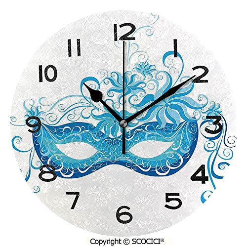 SCOCICI Print Round Wall Clock, 10 Inch Venetian Style Mask Majestic Impersonating Enjoying Halloween Night Theme Quiet Desk Clock for Home,Office,School