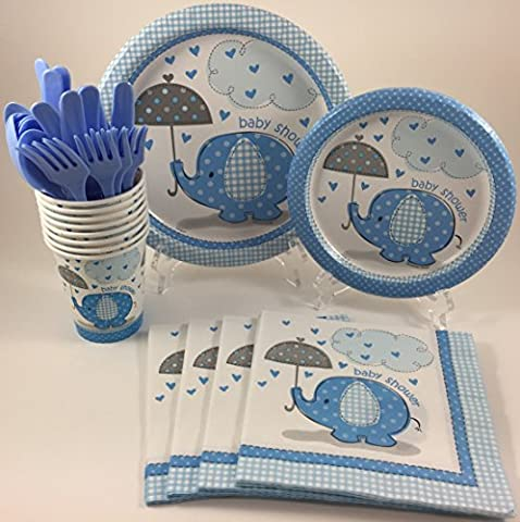 BashBox Blue Umbrellaphants Boy Baby Shower Party Supplies Pack Including Cake & Lunch Plates, Cutlery, Cups & Napkins for 8 Guests