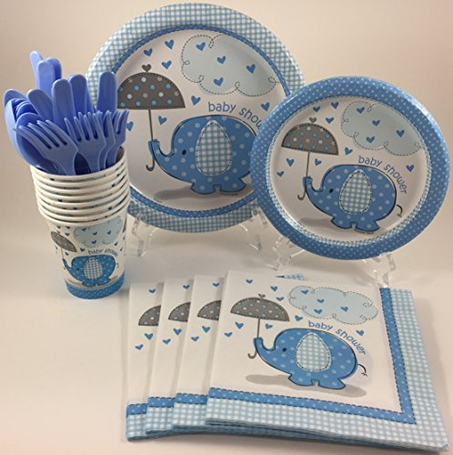 BashBox Blue Umbrellaphants Boy Baby Shower Party Supplies Pack Including Cake & Lunch Plates, Cutlery, Cups & Napkins for 8 Guests (Baby Shower Plates And Cups)