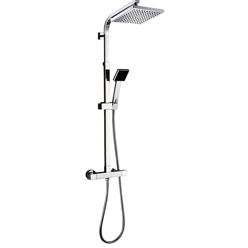 Auralum Bathroom Luxury Rain Waterfall Thermostatic Shower System Wall Mounted Rainfall Shower Combo Set with 8 Inch Square Shower Head Adjustable Slide Bar Hand Shower Shower Hose Chrome Finish