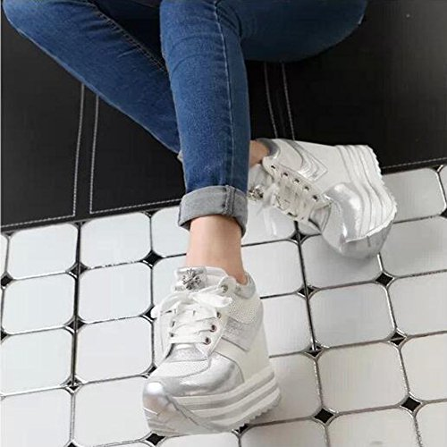 fe39bb2fcae5 PP FASHION Women s Hidden High Heel PU Leather Formal Wedges Fashion  Sneakers new