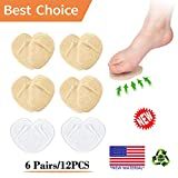 (12PCS) Ball of Foot Cushions, Metatarsal Pads, High Heel Inserts -Reusable-Forefoot Cushions, Soft Gel Insole Pads, Idea for Mortons Neuroma & Metatarsal Foot Pain Relief - Women&Men