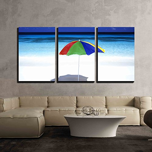 wall26 - 3 Piece Canvas Wall Art - Sunshade from a Beach Umbrella on a Tropical Vacation Resort - Modern Home Decor Stretched and Framed Ready to Hang - 16