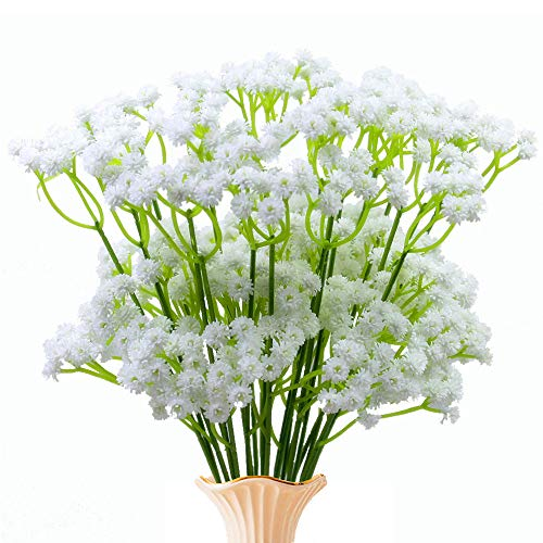 YUEJIA 20pcs Artificial Gypsophila Real Touch Baby Breath Realistic Single Fake Bright Small Flowers White Plants For Home Wedding Decoration
