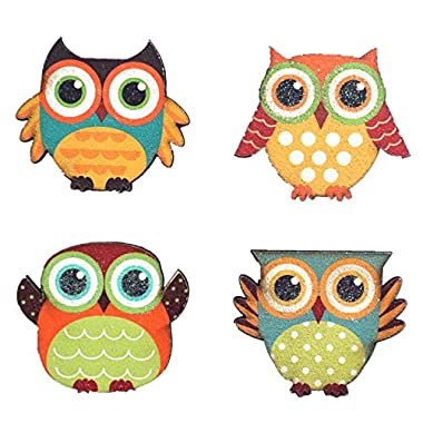 YK Decor Wood Magnetic Owl Display set of 4