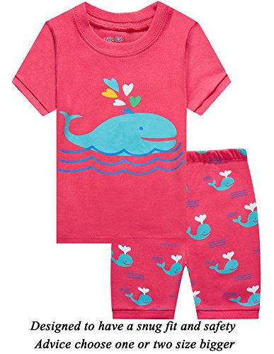 Girls Pajamas Pjs - Girls Short Pajamas Shark Sleepwear 100% Cotton Summer Toddler Kids PJS Clothes Shirts 5T